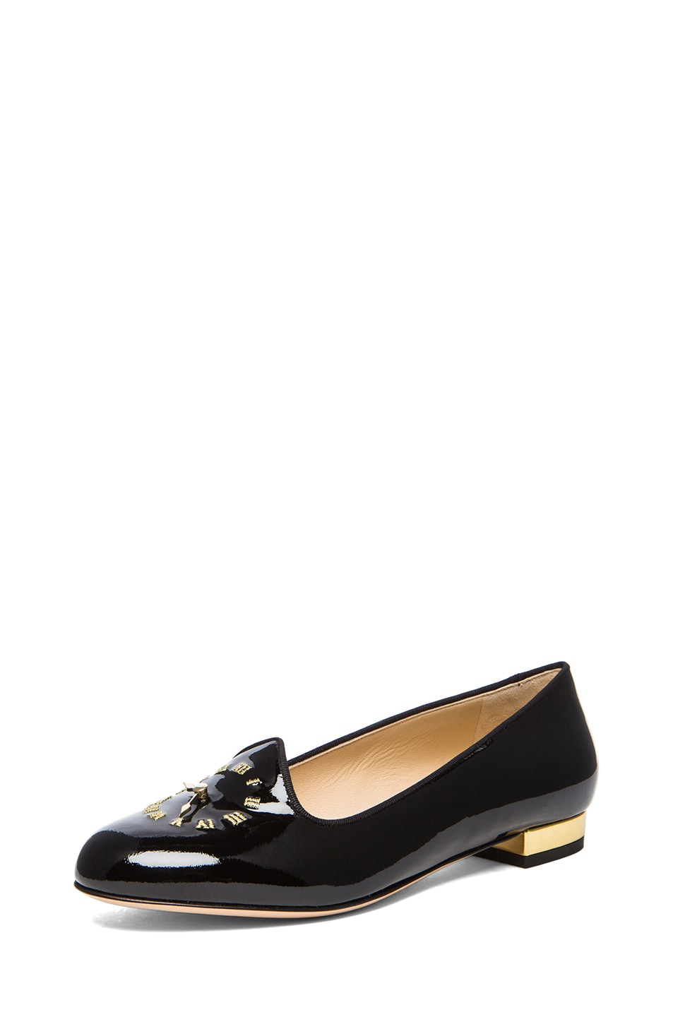 Image 2 of Charlotte Olympia Fashionably Late Patent Leather Flats in Black