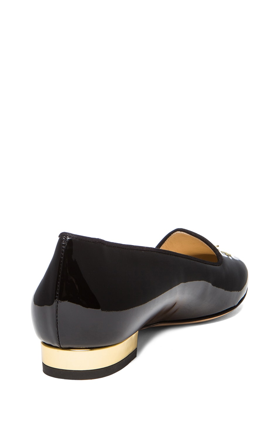 Image 3 of Charlotte Olympia Fashionably Late Patent Leather Flats in Black