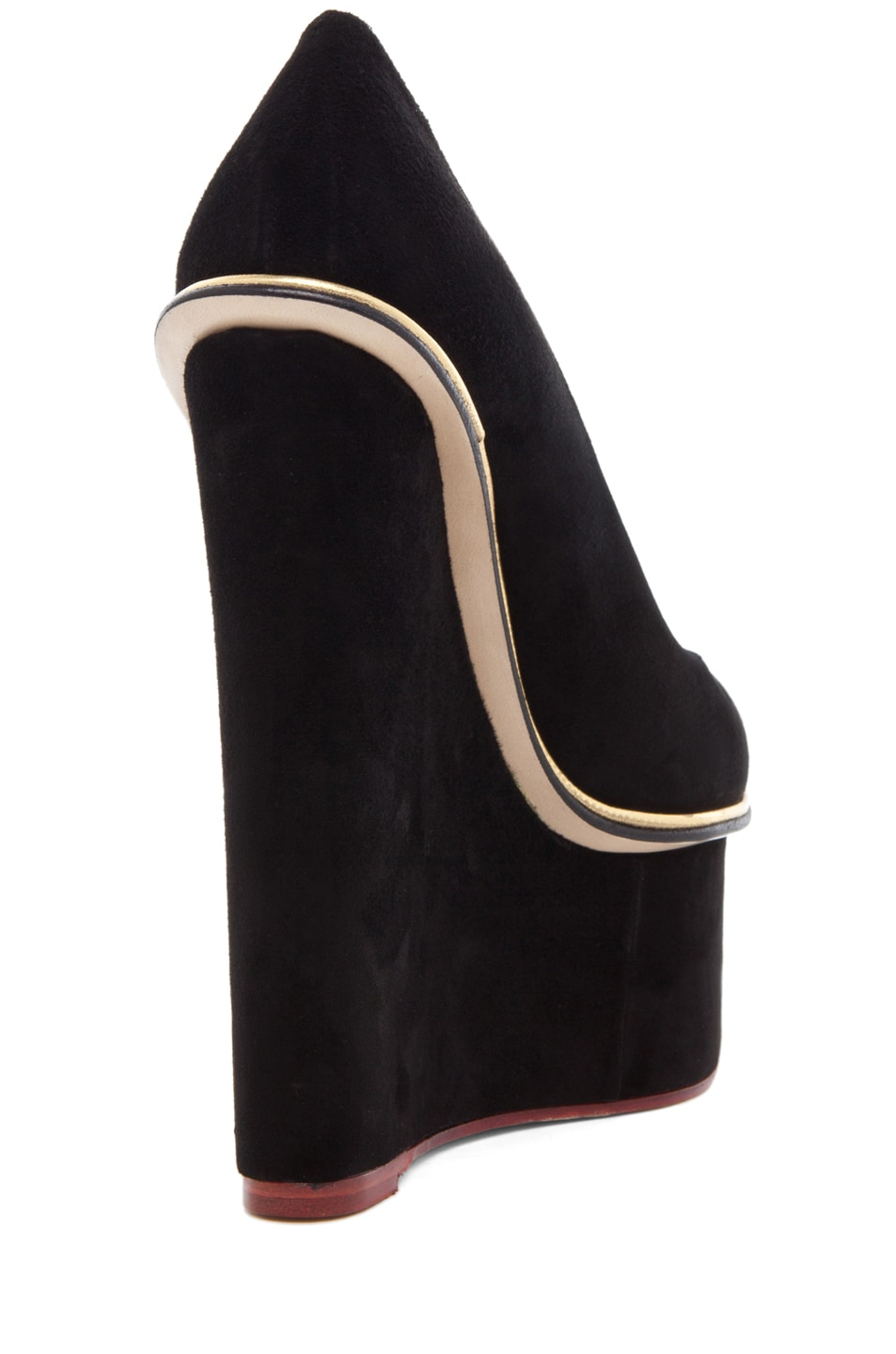 Image 3 of Charlotte Olympia Carmen Suede Super Wedge in Black