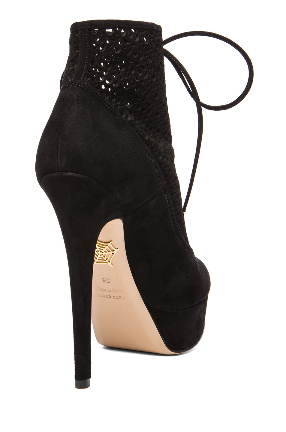 Image 3 of Charlotte Olympia Lavinia Suede Booties in Black