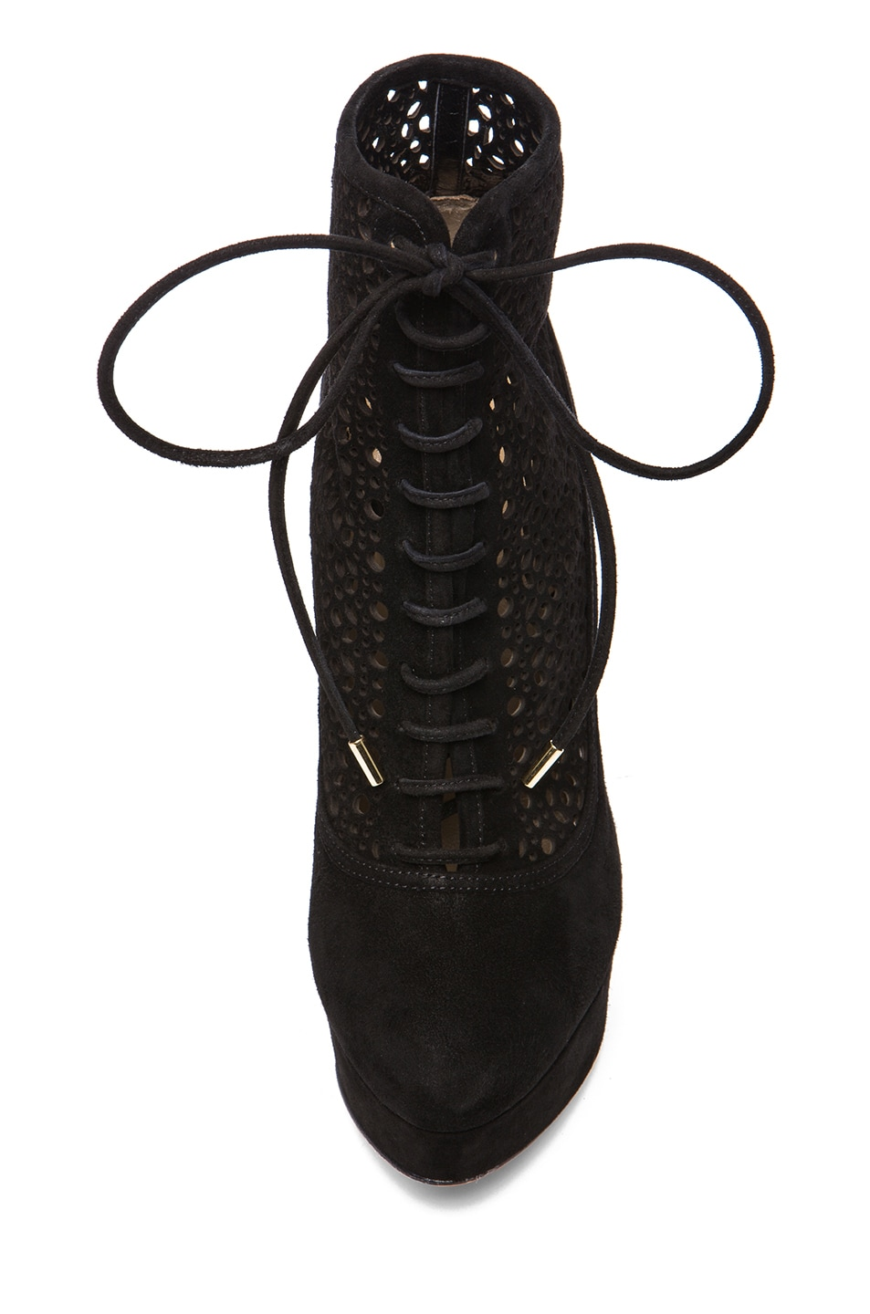 Image 4 of Charlotte Olympia Lavinia Suede Booties in Black