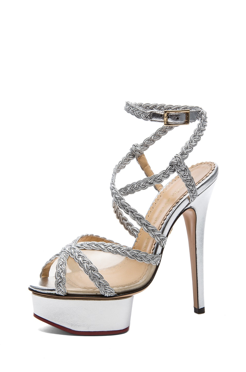 Image 2 of Charlotte Olympia Isadora Metallic Nappa Leather Heel in Silver