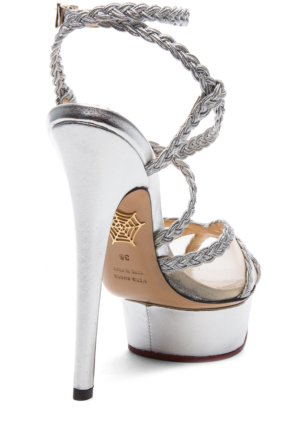 Image 3 of Charlotte Olympia Isadora Metallic Nappa Leather Heel in Silver