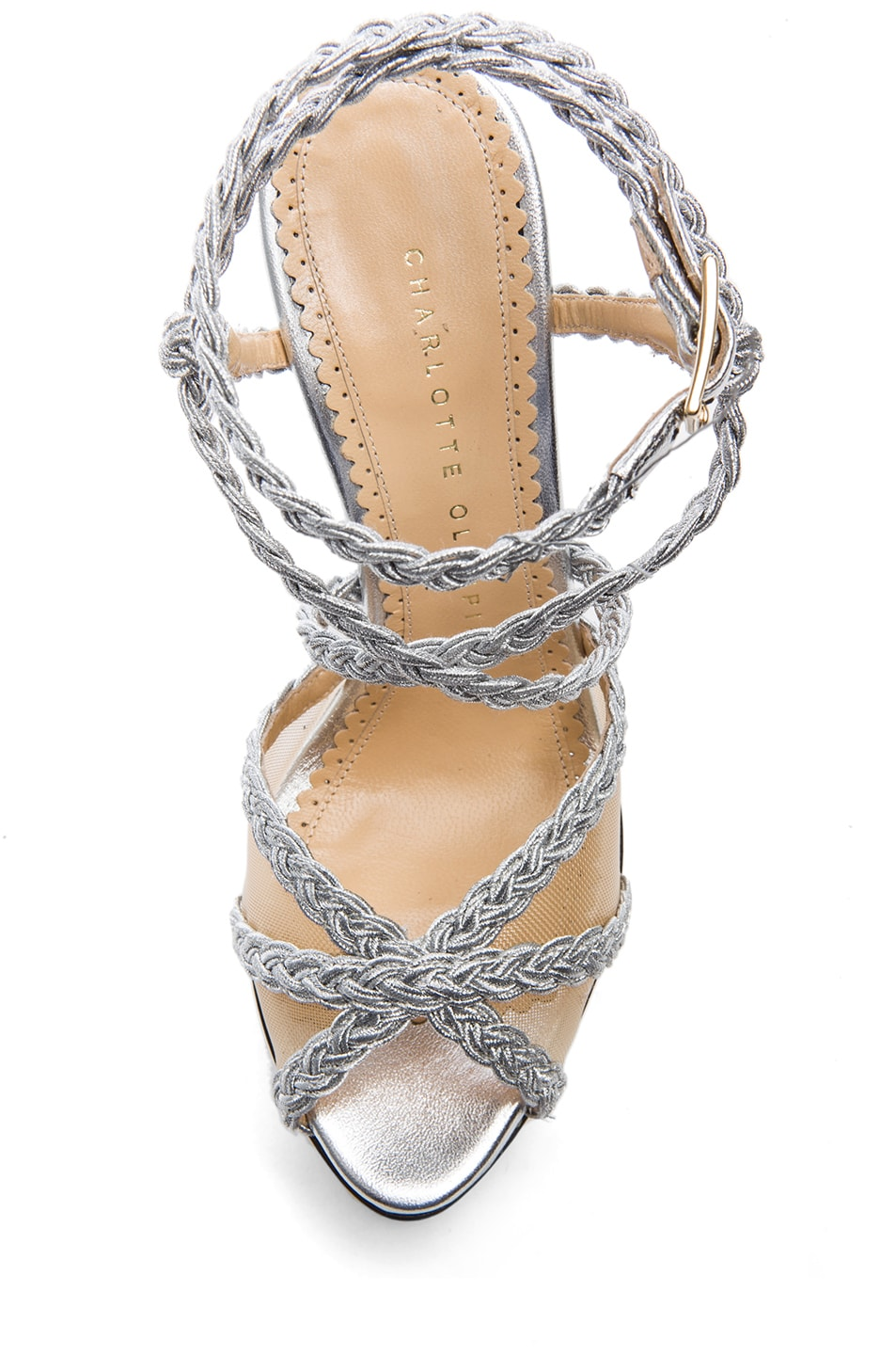 Image 4 of Charlotte Olympia Isadora Metallic Nappa Leather Heel in Silver