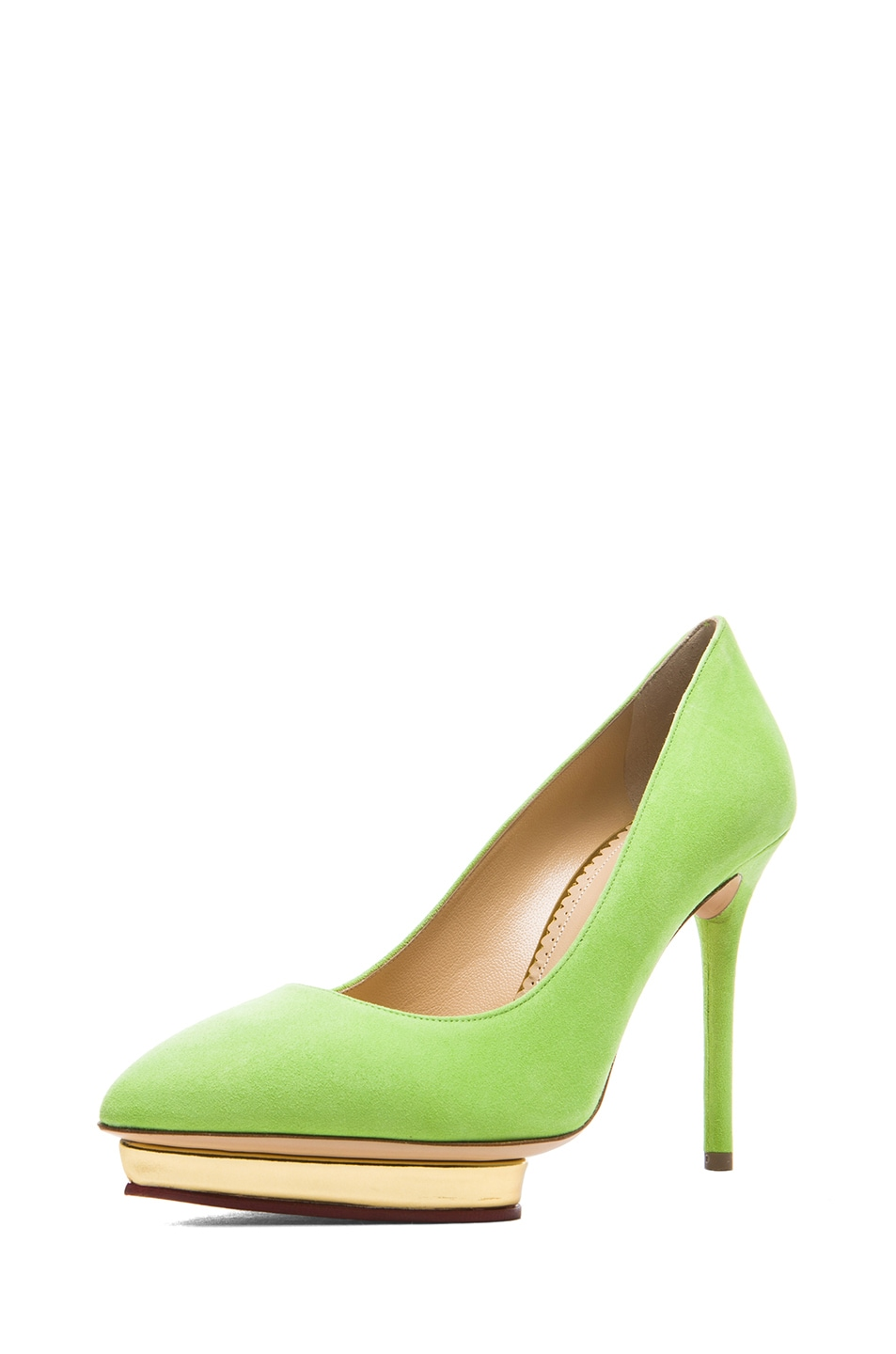 Image 2 of Charlotte Olympia Debbie Suede Pumps in Sour Apple