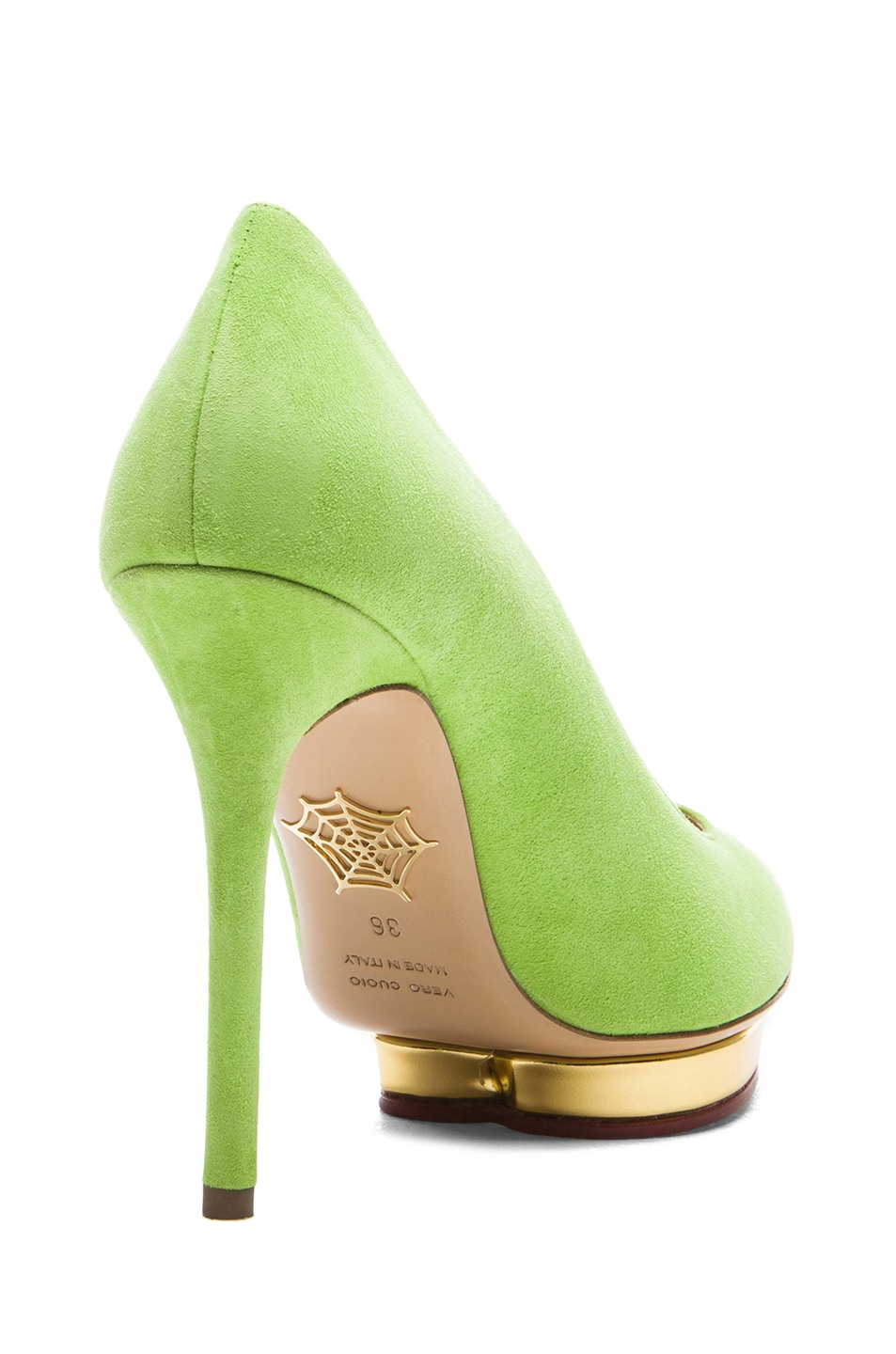Image 3 of Charlotte Olympia Debbie Suede Pumps in Sour Apple