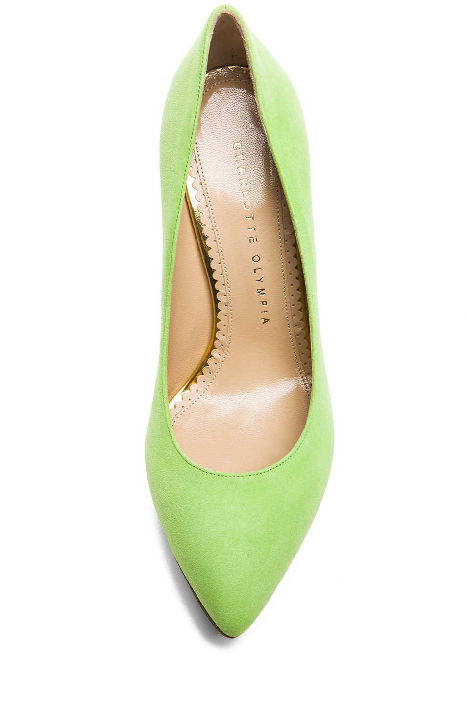 Image 4 of Charlotte Olympia Debbie Suede Pumps in Sour Apple