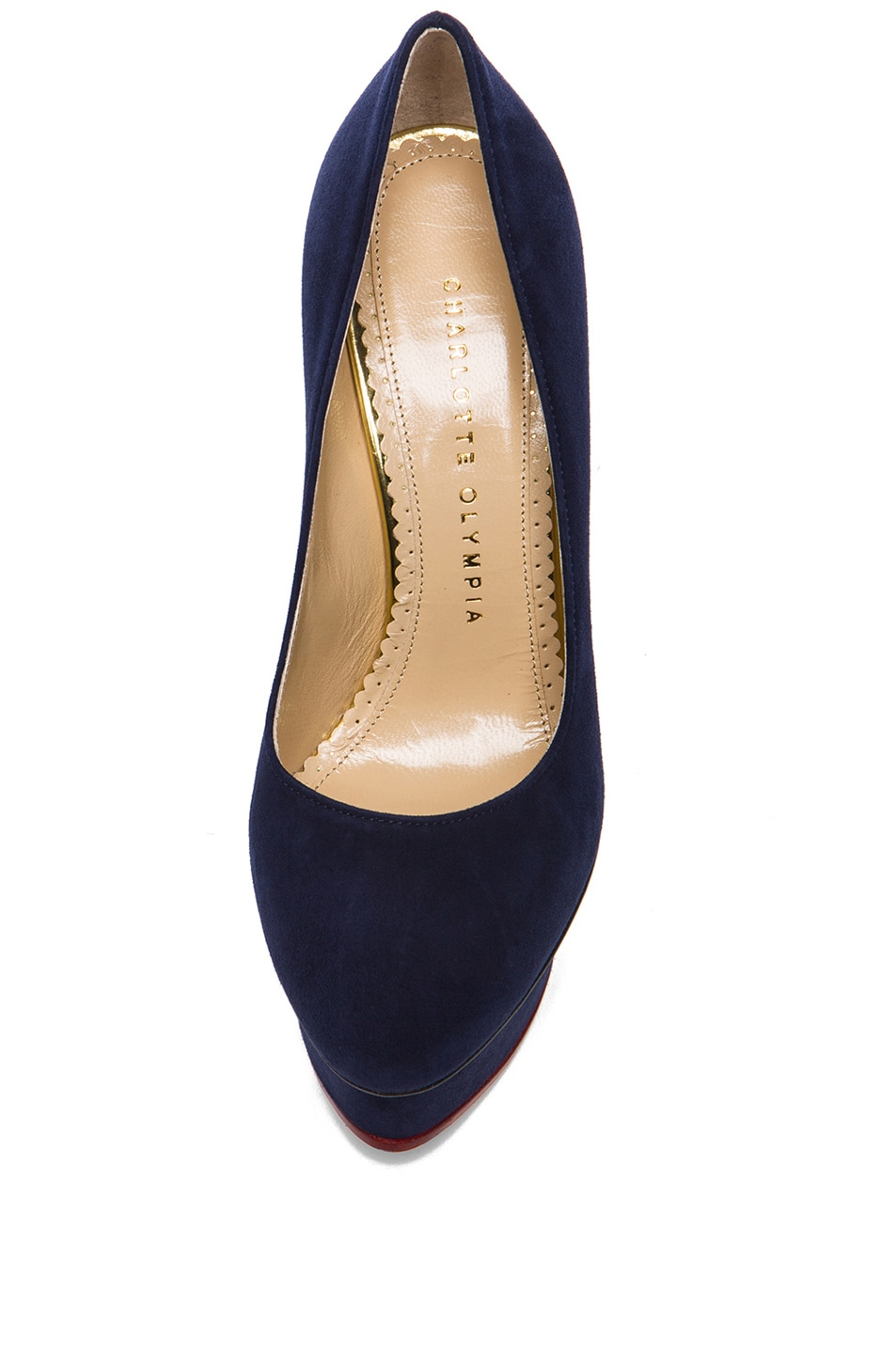Image 4 of Charlotte Olympia Dolly Suede Pumps in Navy