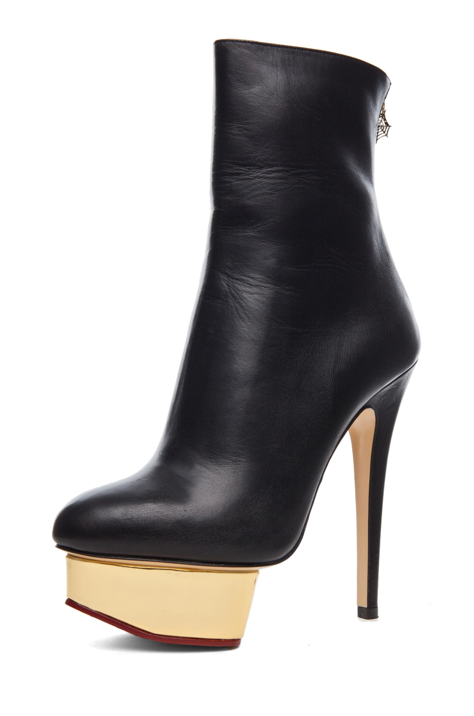Image 2 of Charlotte Olympia Lucinda Signature Island Nappa Leather Booties in Black
