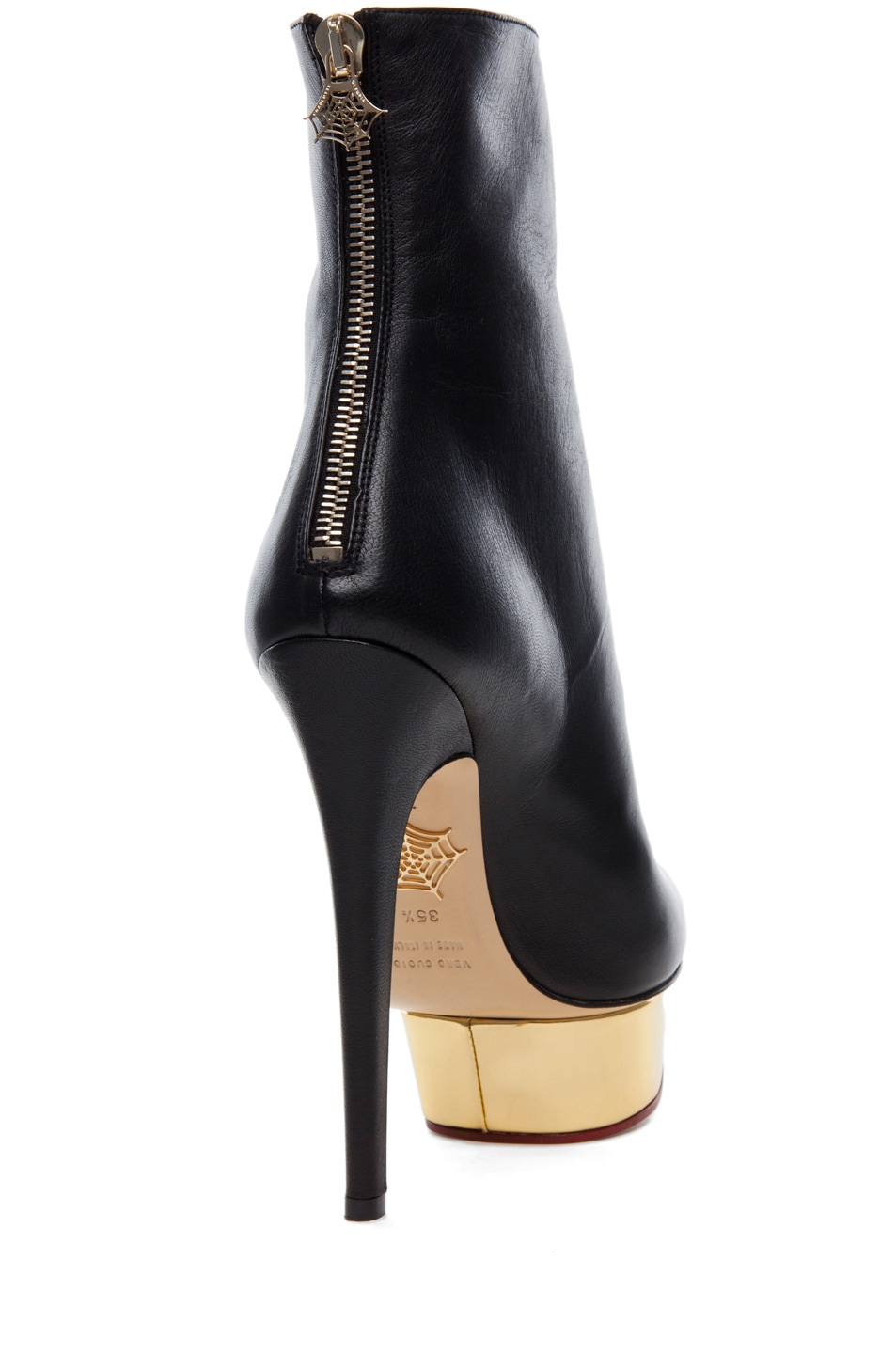 Image 3 of Charlotte Olympia Lucinda Signature Island Nappa Leather Booties in Black