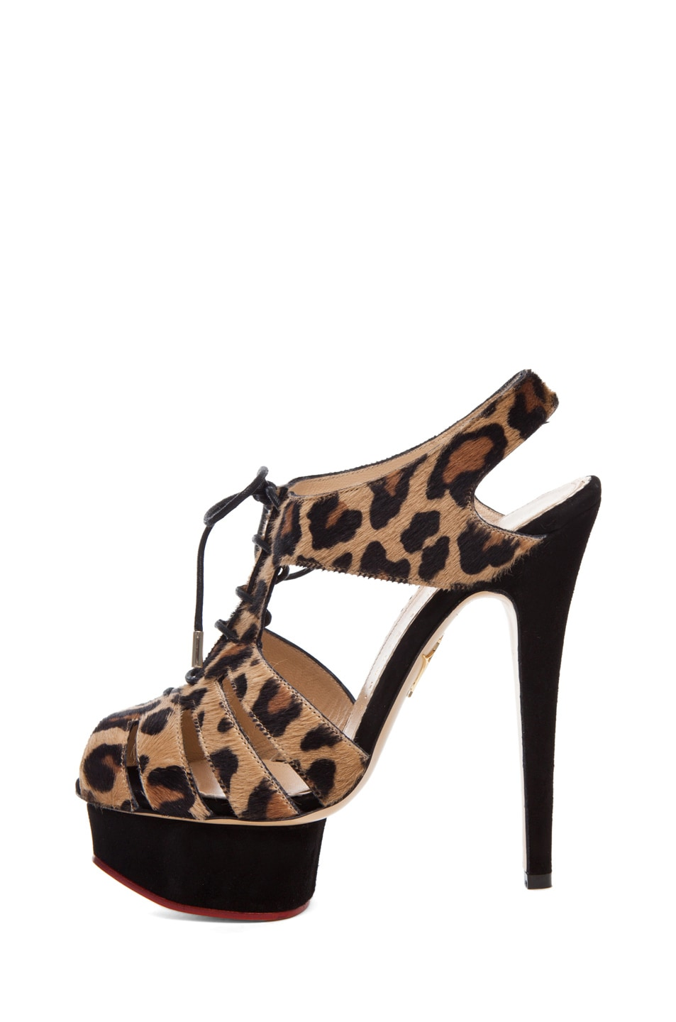 Image 1 of Charlotte Olympia Maxine Caged Signature Island Platform in Leopard