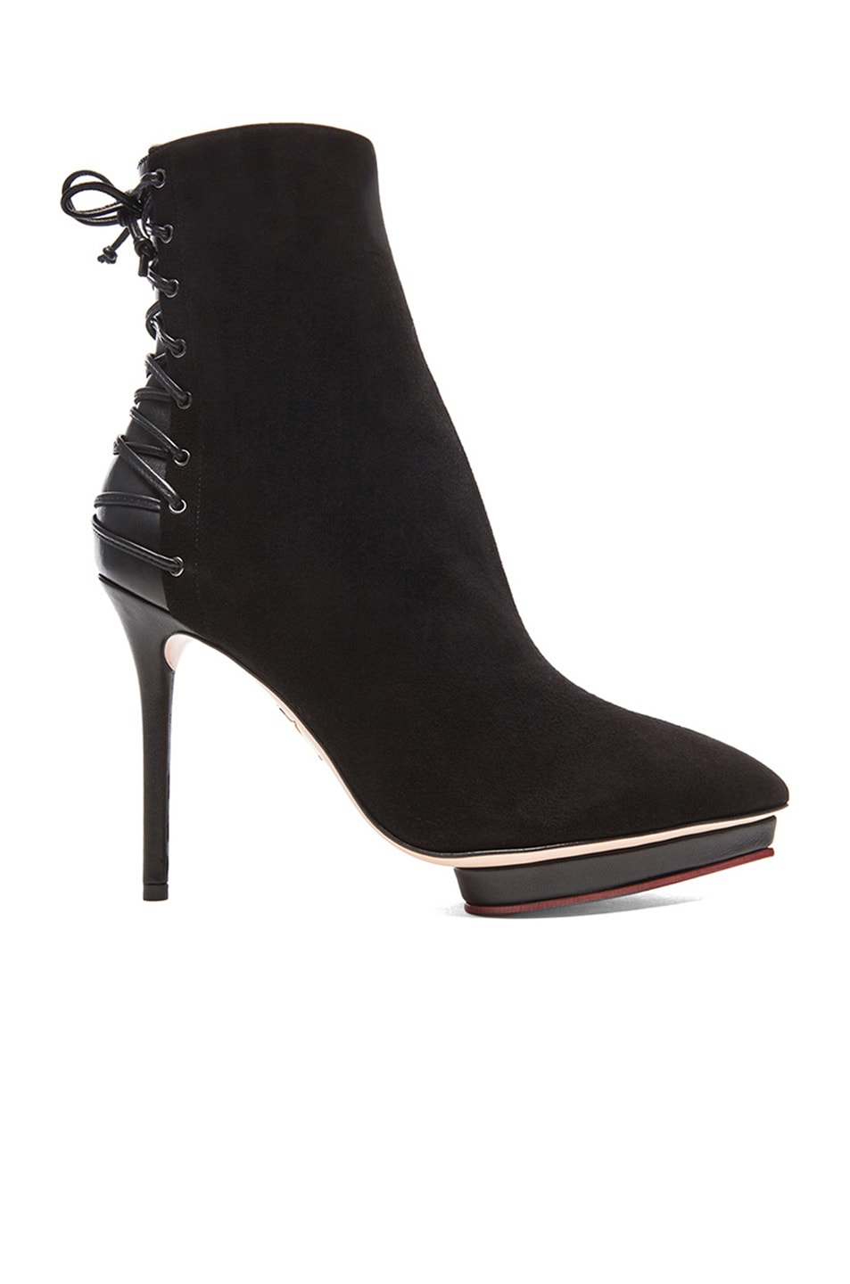 Image 1 of Charlotte Olympia Laced-Up Deborah Suede Booties in Black