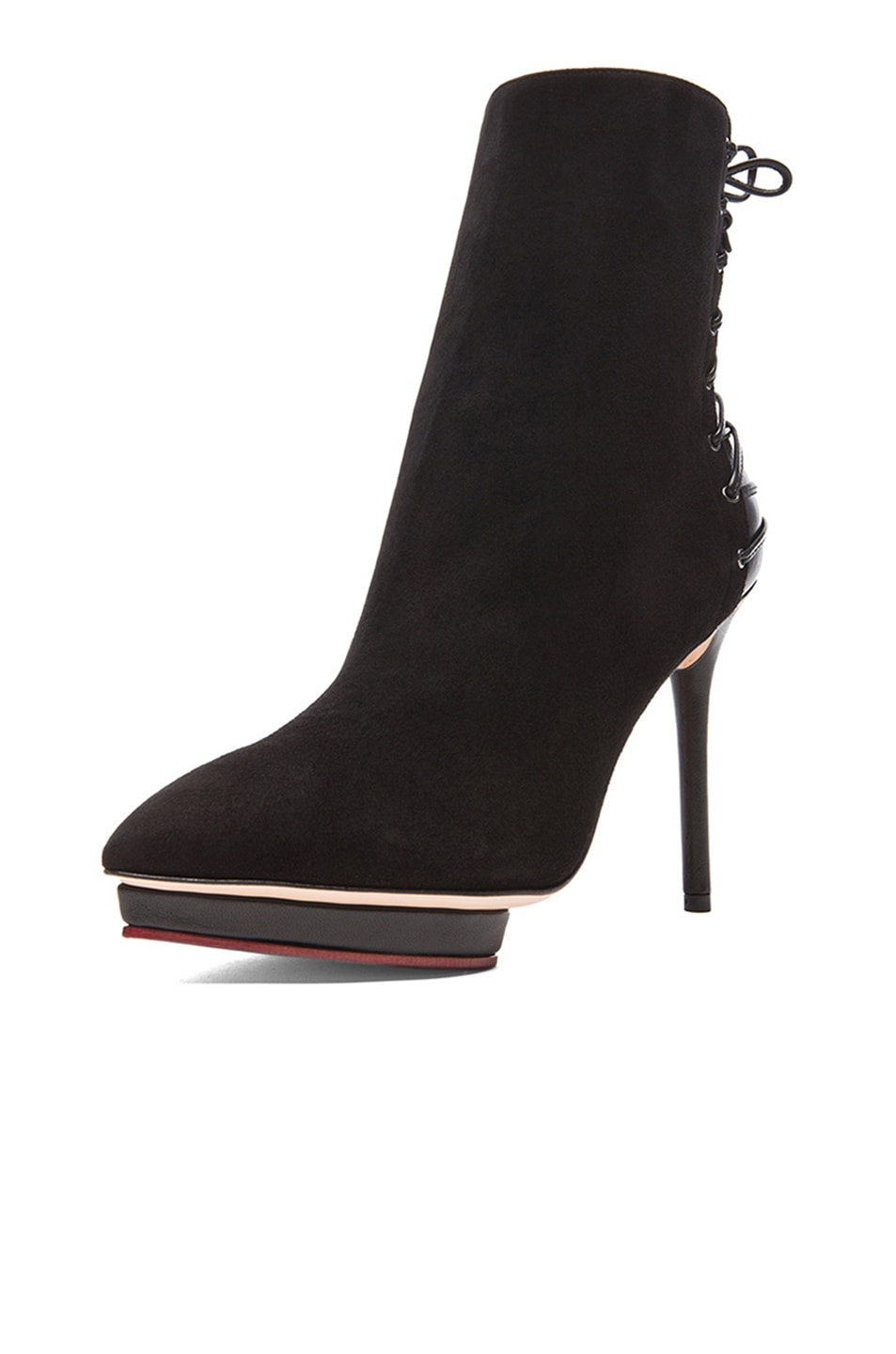 Image 2 of Charlotte Olympia Laced-Up Deborah Suede Booties in Black