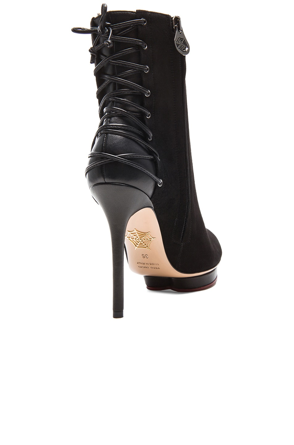 Image 3 of Charlotte Olympia Laced-Up Deborah Suede Booties in Black