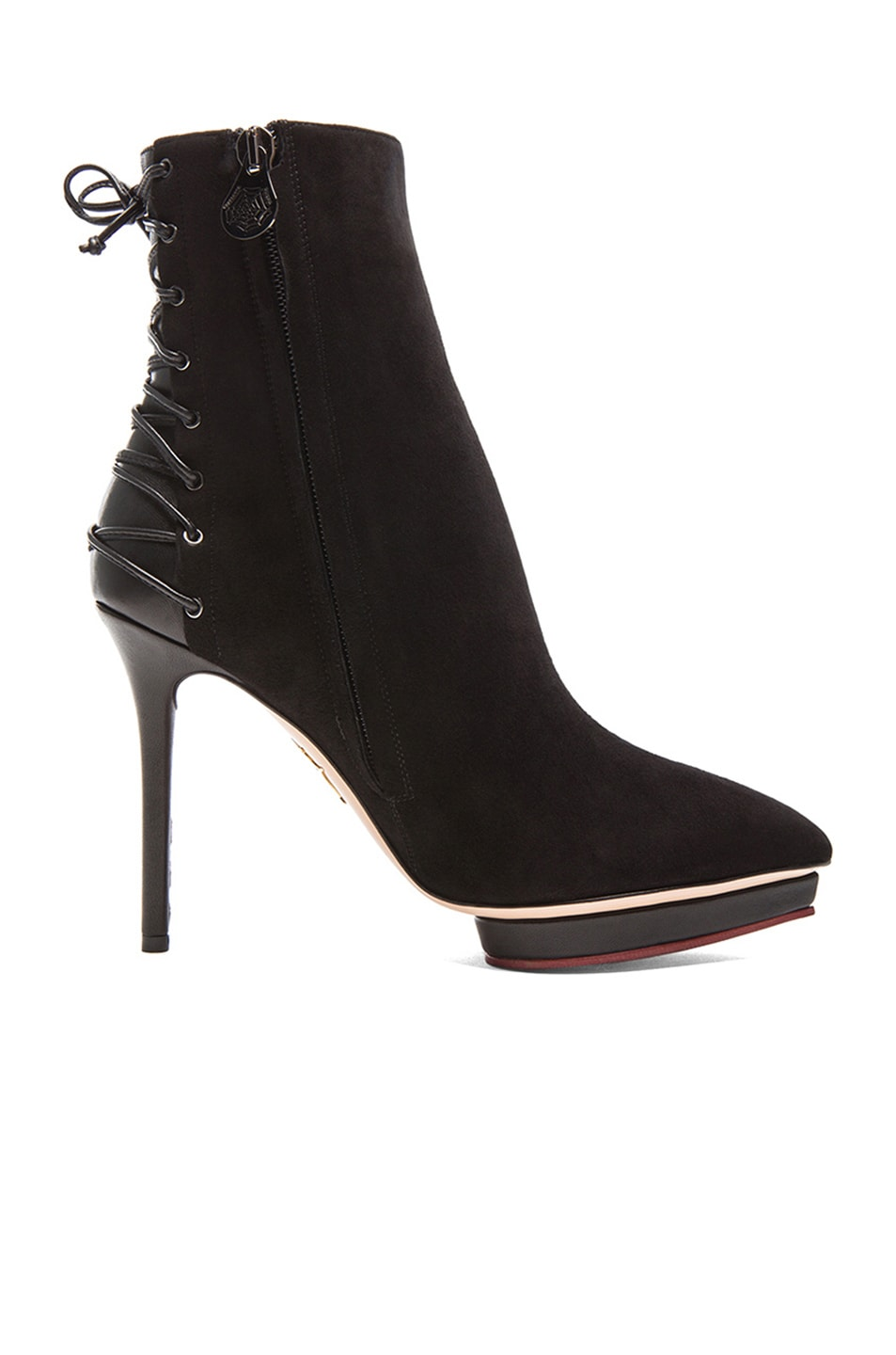 Image 5 of Charlotte Olympia Laced-Up Deborah Suede Booties in Black