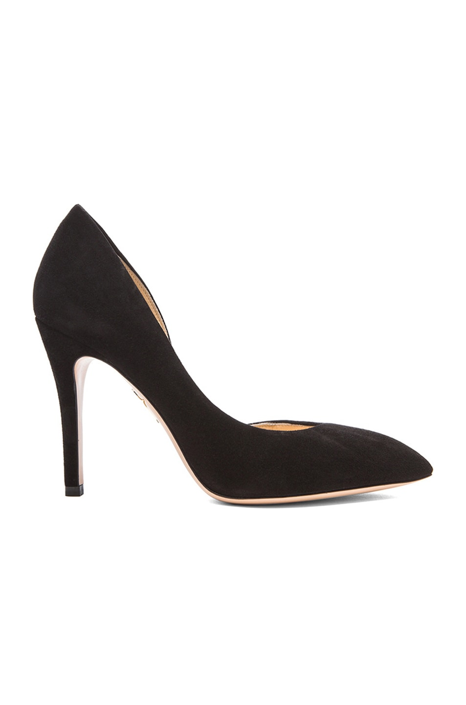 Image 1 of Charlotte Olympia The Lady is a Vamp Suede Heels in Black