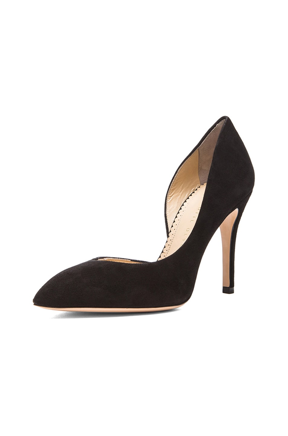 Image 2 of Charlotte Olympia The Lady is a Vamp Suede Heels in Black