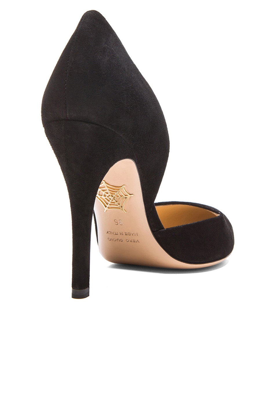 Image 3 of Charlotte Olympia The Lady is a Vamp Suede Heels in Black