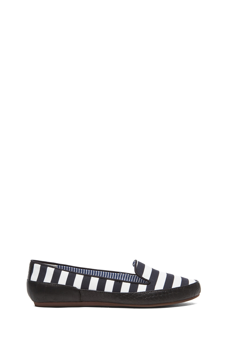 Image 1 of Charles Philip Shanghai Gaby Cotton Flats in Black Stripes