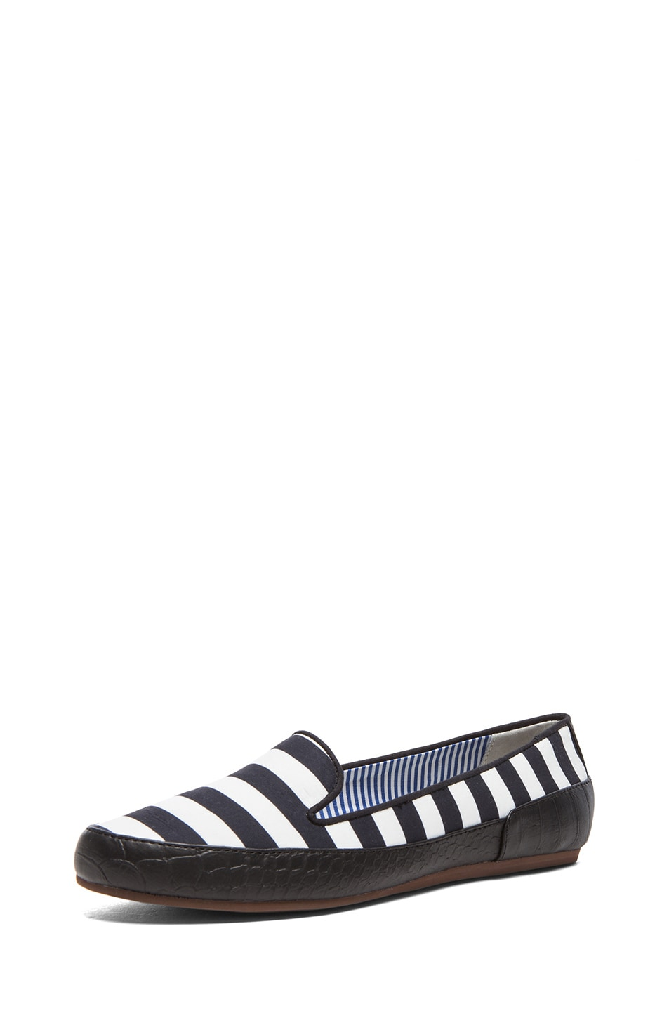 Image 2 of Charles Philip Shanghai Gaby Cotton Flats in Black Stripes