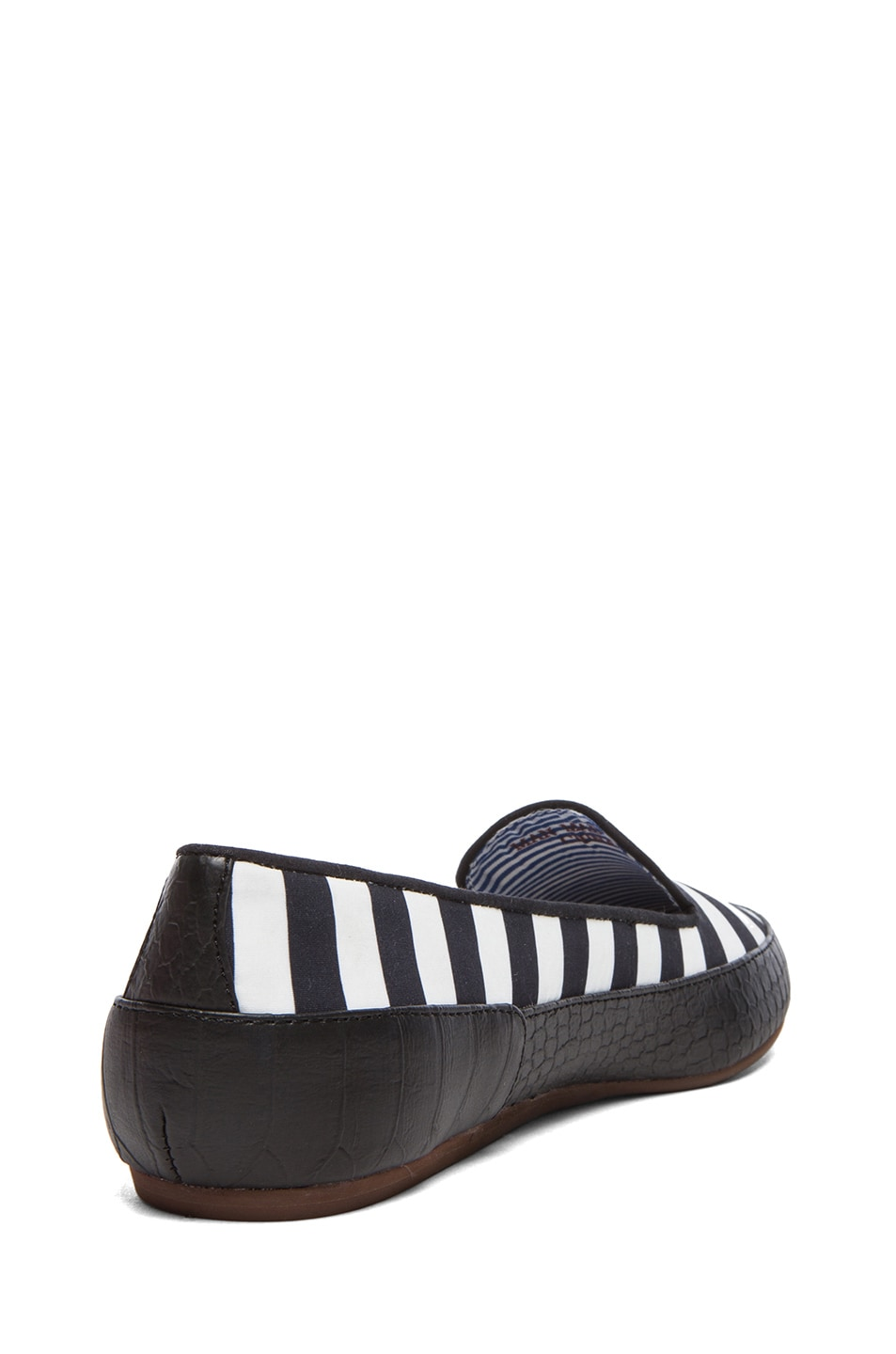Image 3 of Charles Philip Shanghai Gaby Cotton Flats in Black Stripes