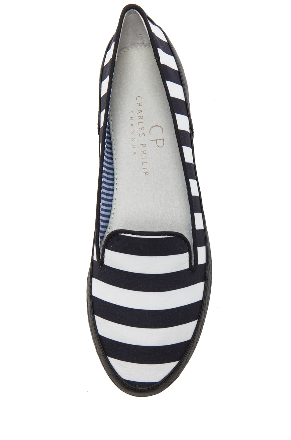 Image 4 of Charles Philip Shanghai Gaby Cotton Flats in Black Stripes