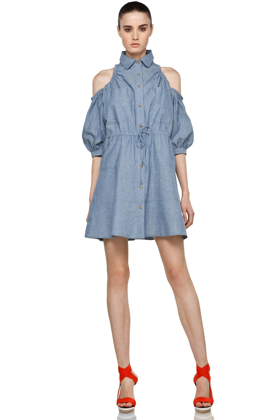 Image 1 of Chloe Sevigny for Opening Ceremony Cut Out Shoulder Blouse Dress in Chambray Blue