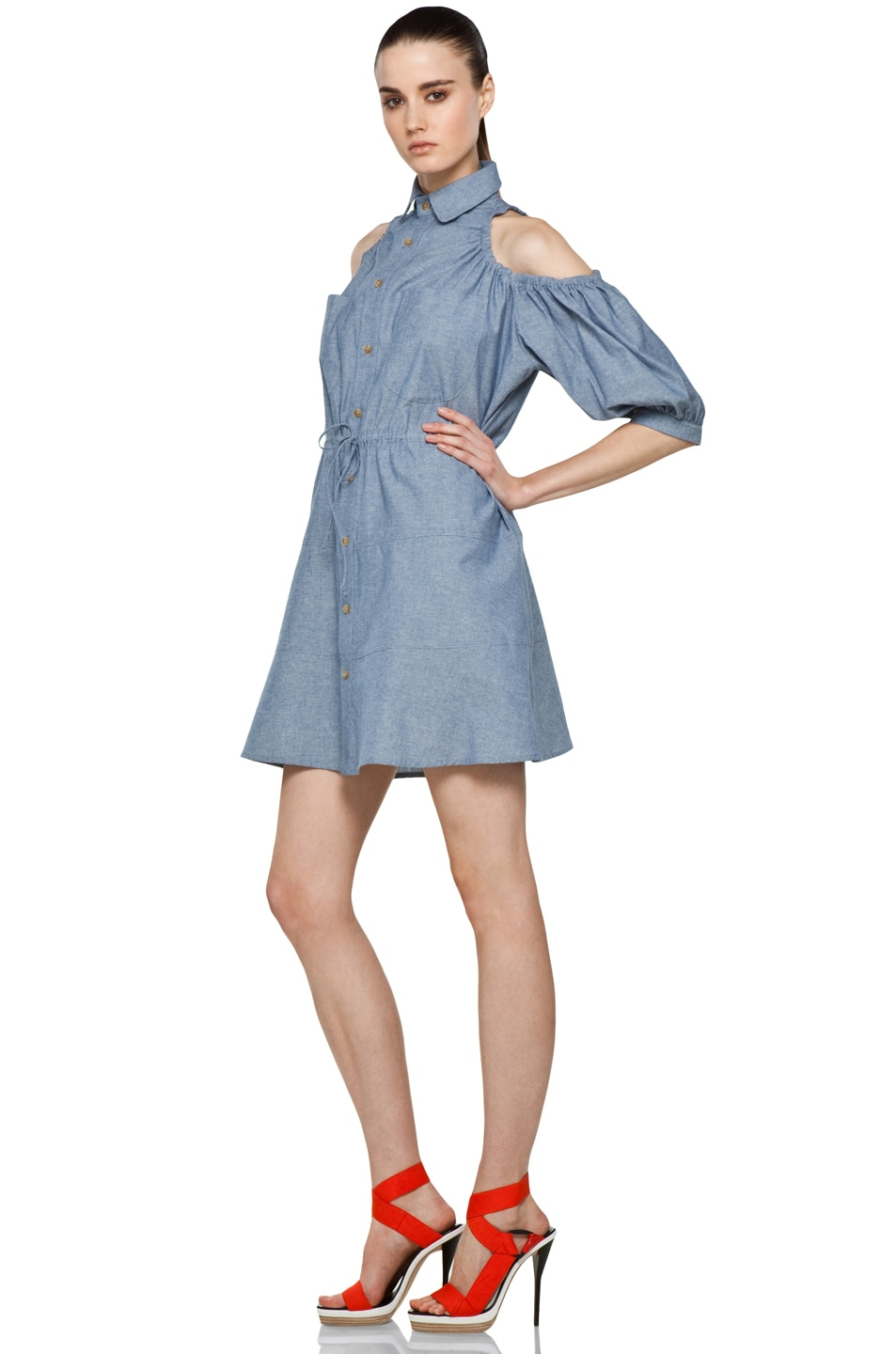 Image 2 of Chloe Sevigny for Opening Ceremony Cut Out Shoulder Blouse Dress in Chambray Blue