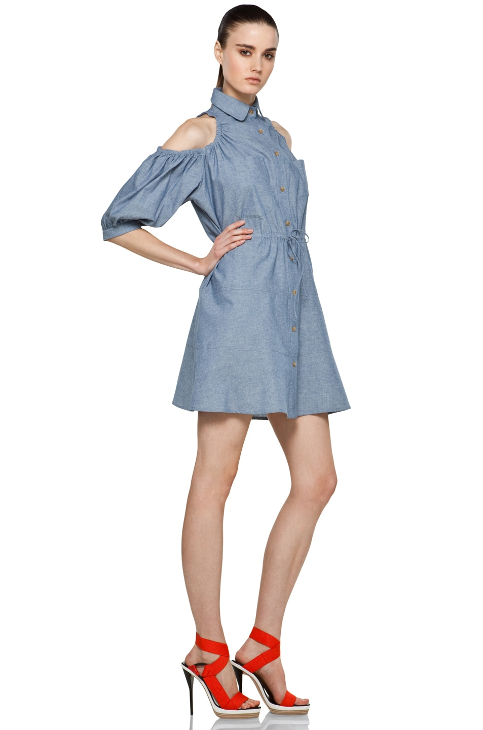 Image 3 of Chloe Sevigny for Opening Ceremony Cut Out Shoulder Blouse Dress in Chambray Blue
