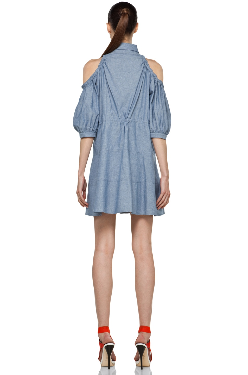 Image 4 of Chloe Sevigny for Opening Ceremony Cut Out Shoulder Blouse Dress in Chambray Blue