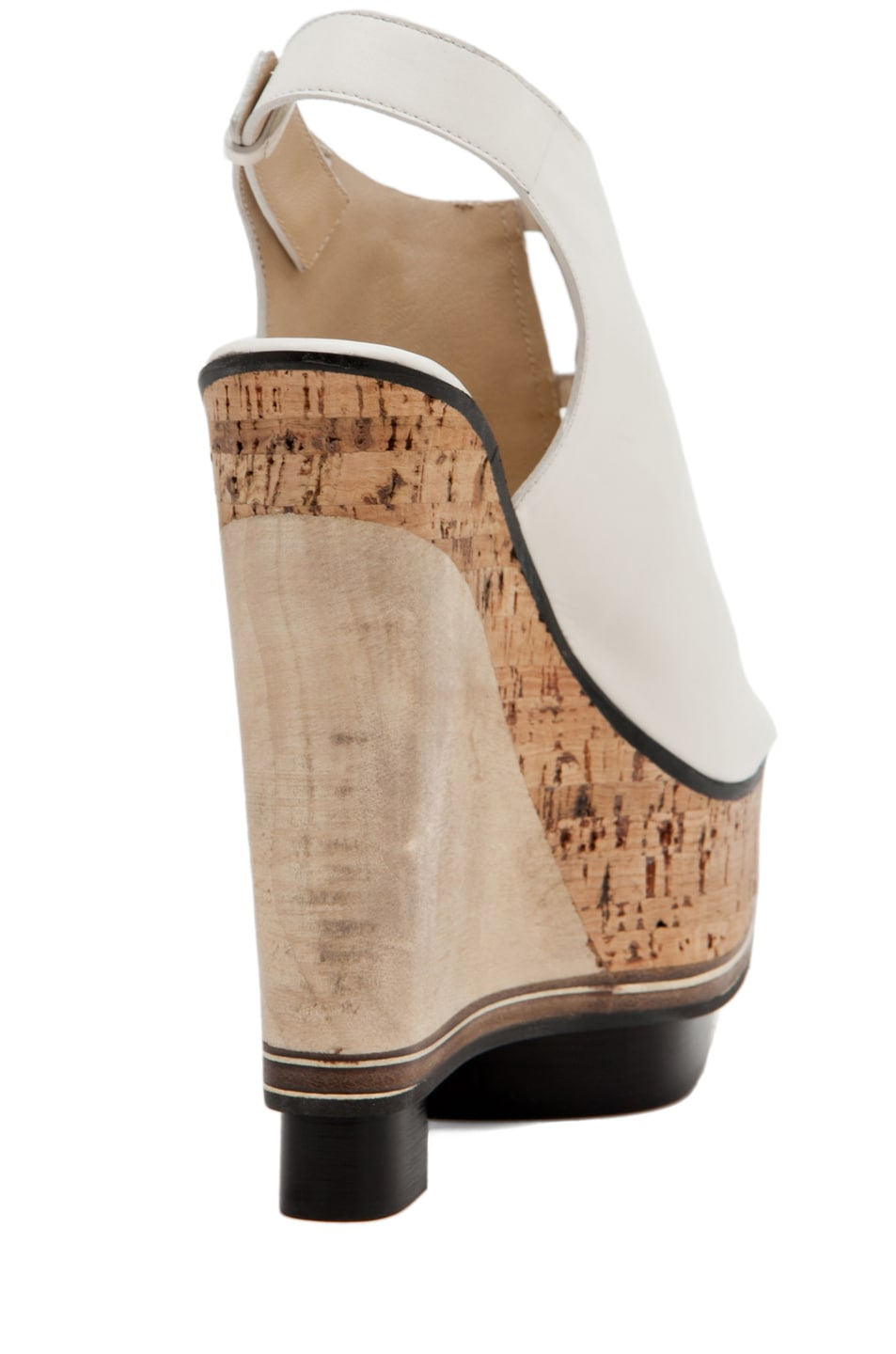 Image 3 of CoSTUME NATIONAL Lux Stacked Wedge in Blanco