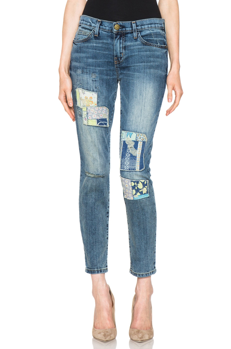 Image 1 of Current/Elliott The Stiletto jean in Dirty Loved Hippie Patchwork Destroy
