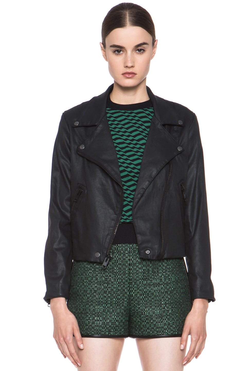 Image 1 of Current/Elliott Better Than Leather Soho Cotton Biker Jacket in Black