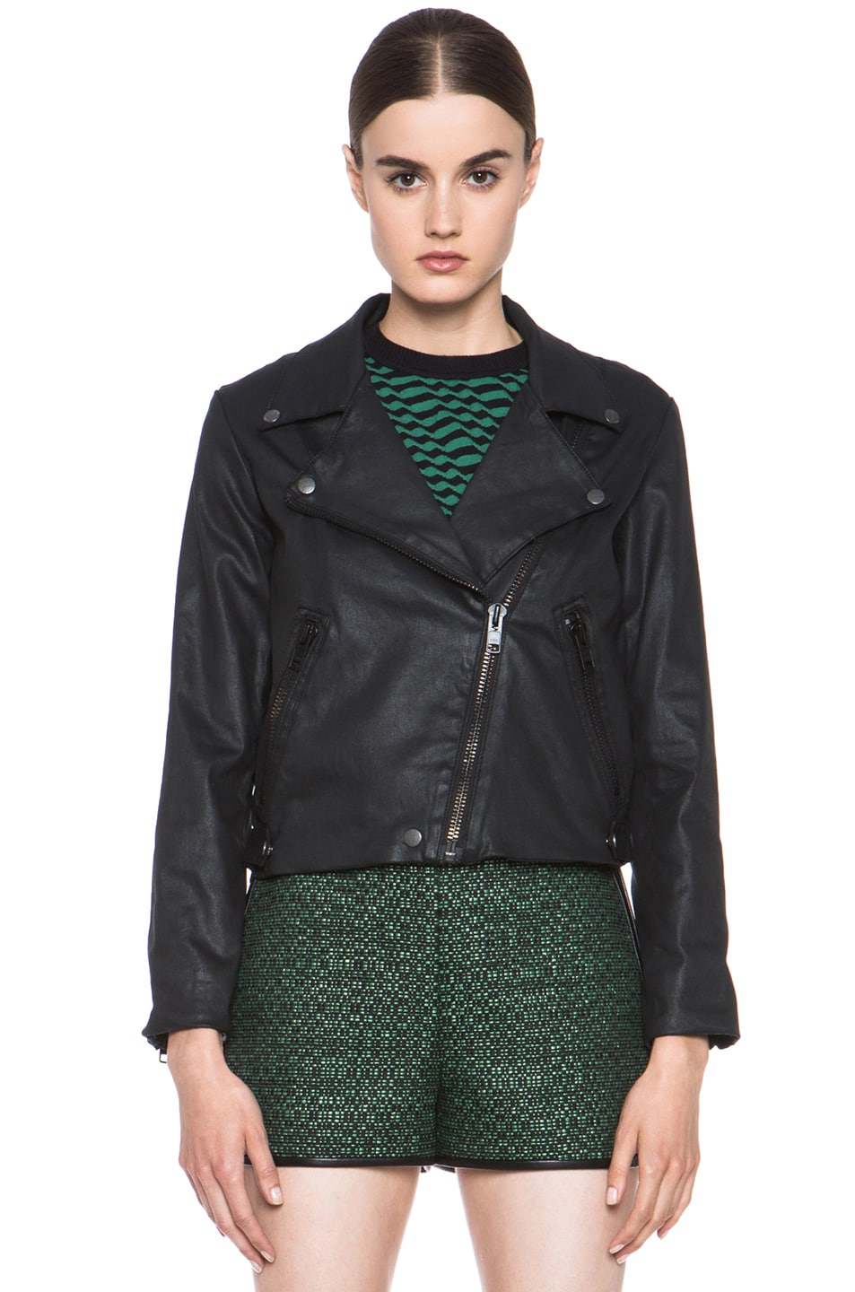 Image 2 of Current/Elliott Better Than Leather Soho Cotton Biker Jacket in Black