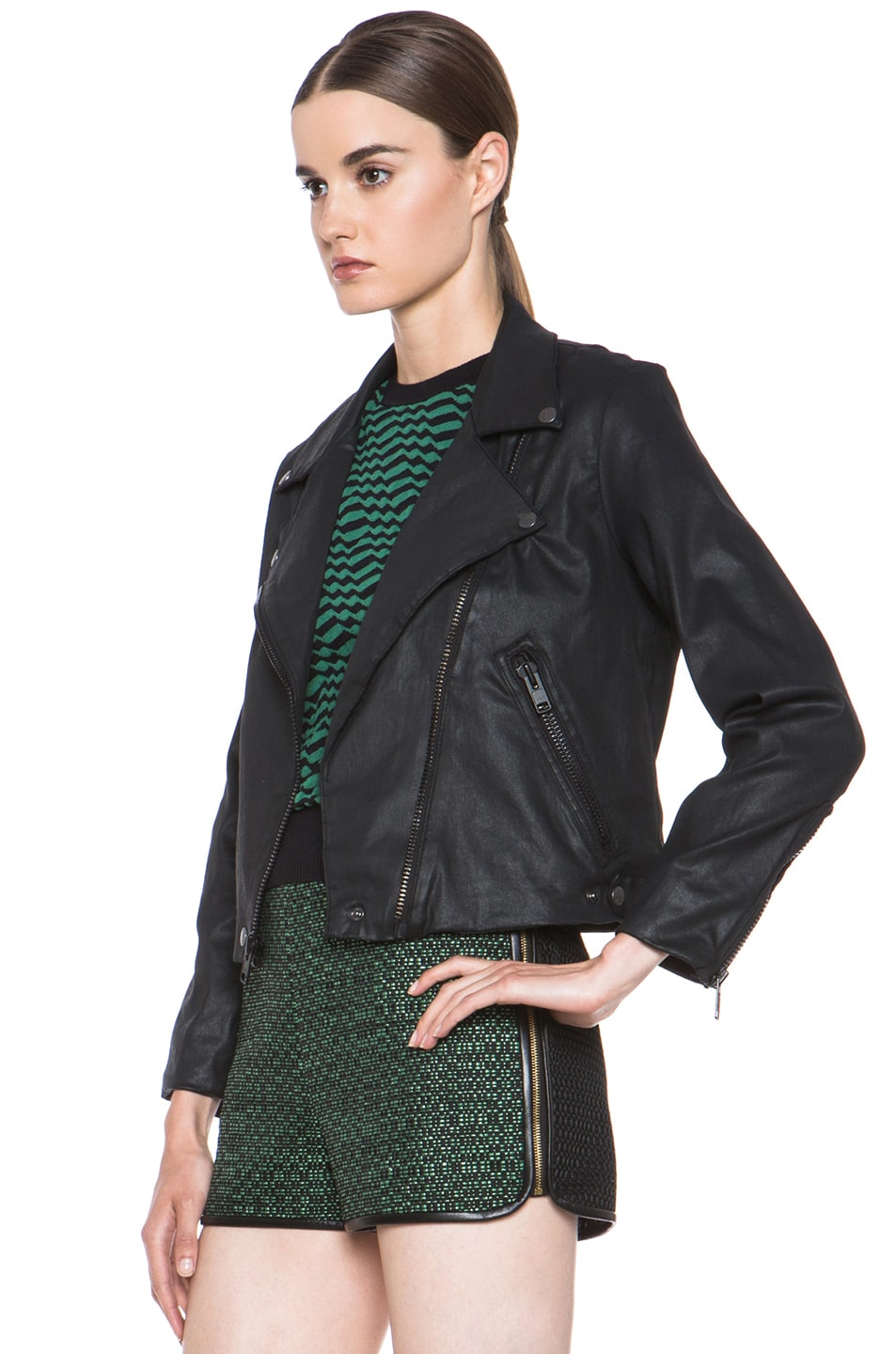 Image 3 of Current/Elliott Better Than Leather Soho Cotton Biker Jacket in Black