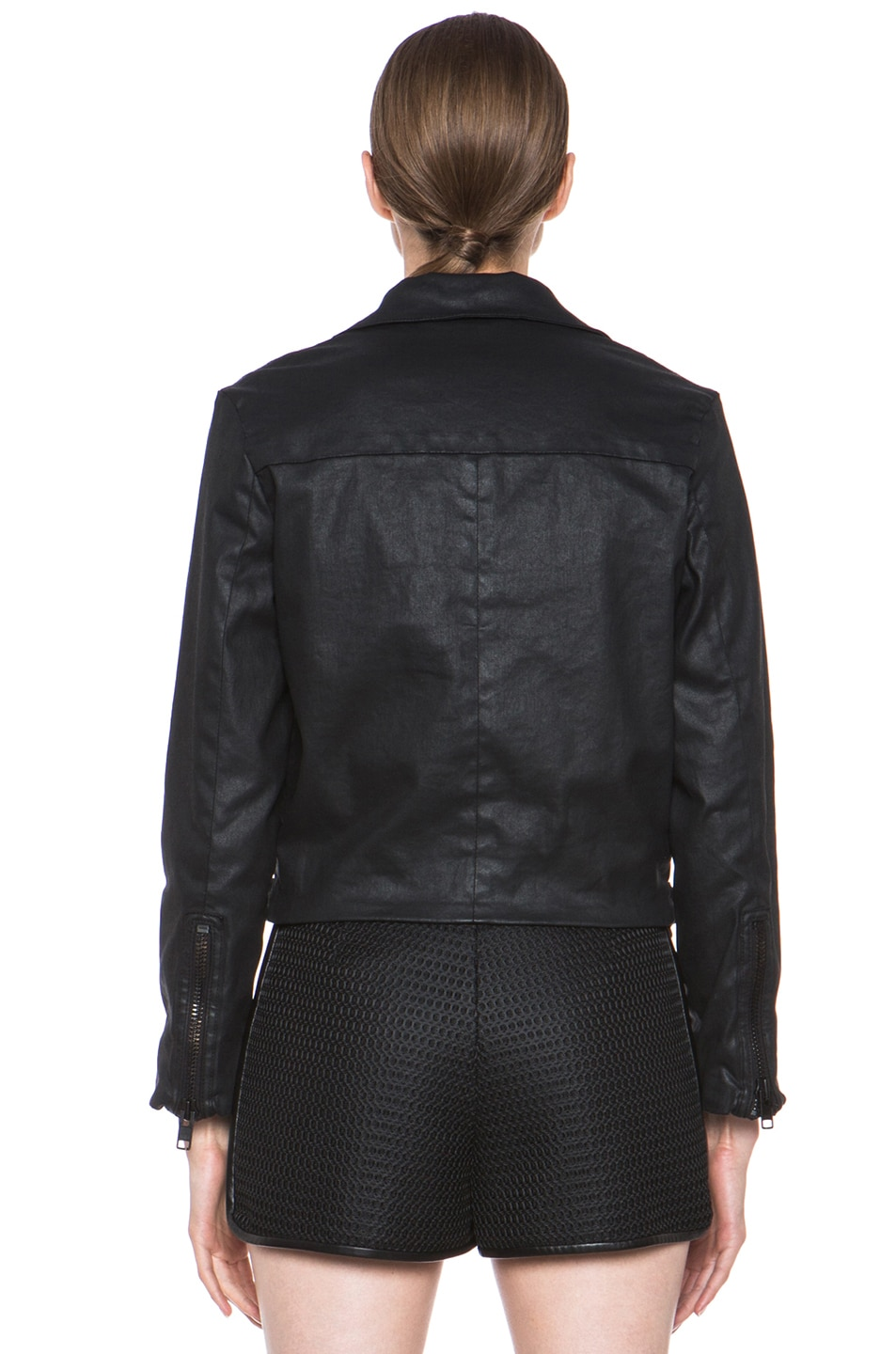 Image 5 of Current/Elliott Better Than Leather Soho Cotton Biker Jacket in Black