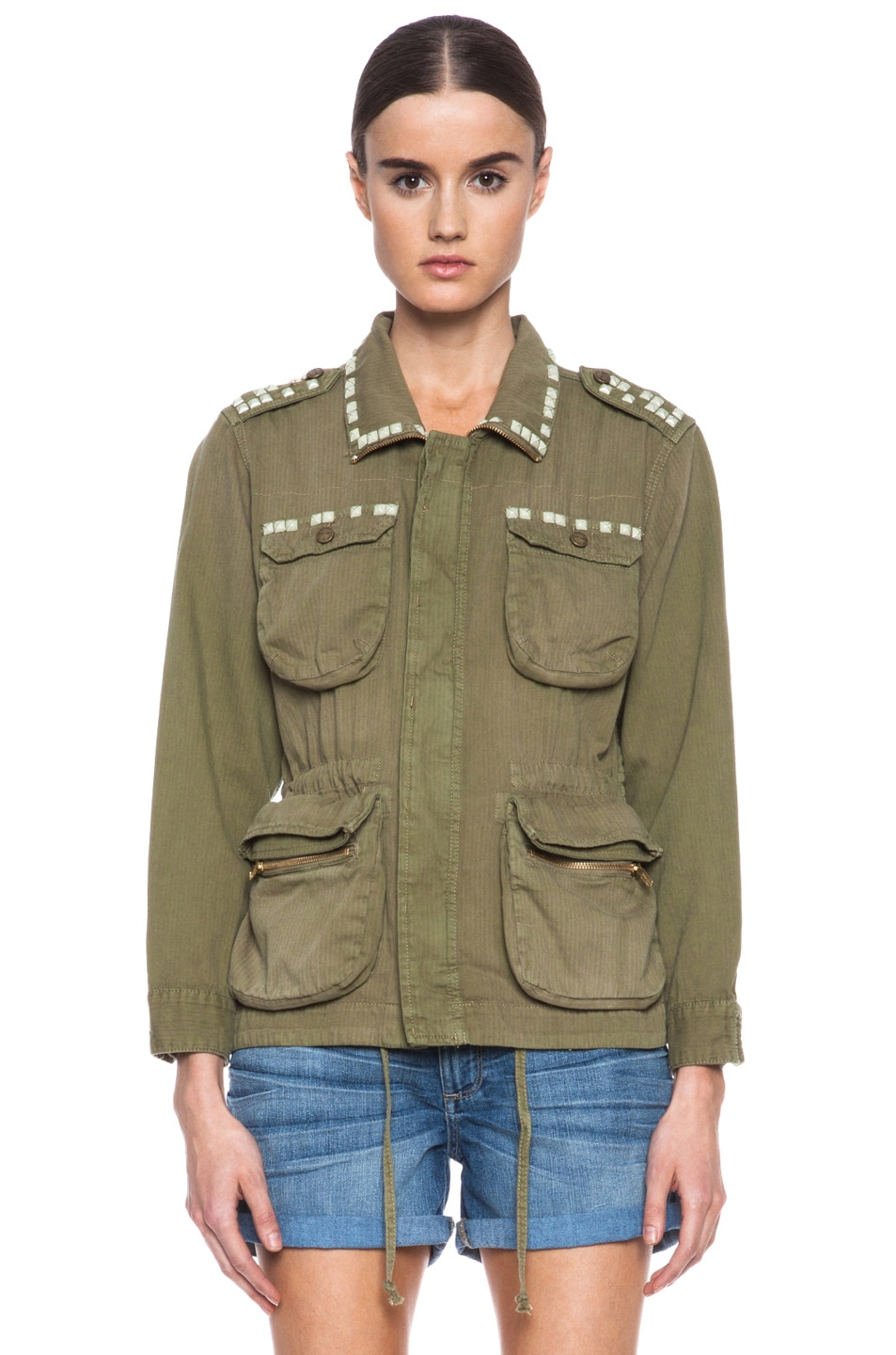 Image 2 of Current/Elliott Lone Soldier Cotton Jacket in Spring Army