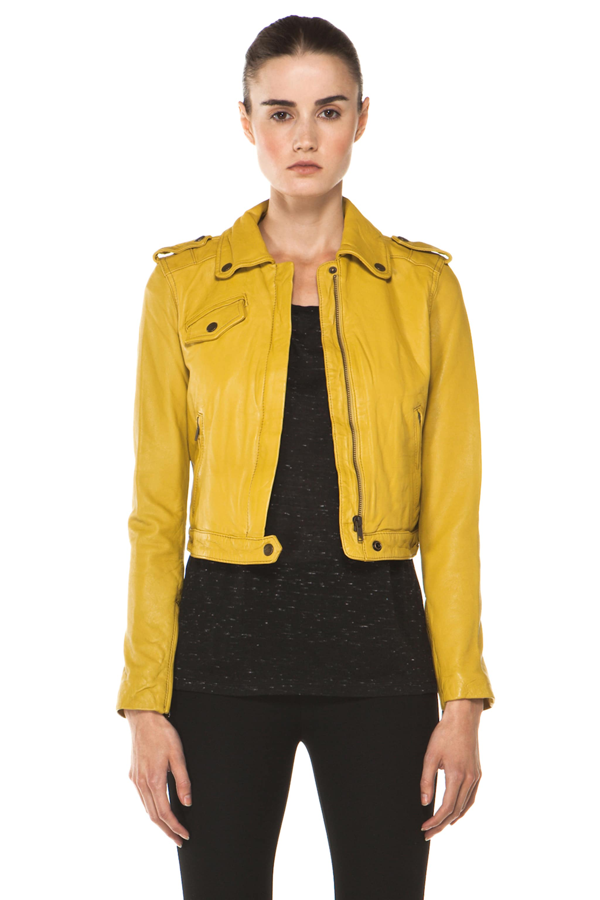 Image 1 of Current/Elliott The Zip Moto Leather Jacket in Light Olive