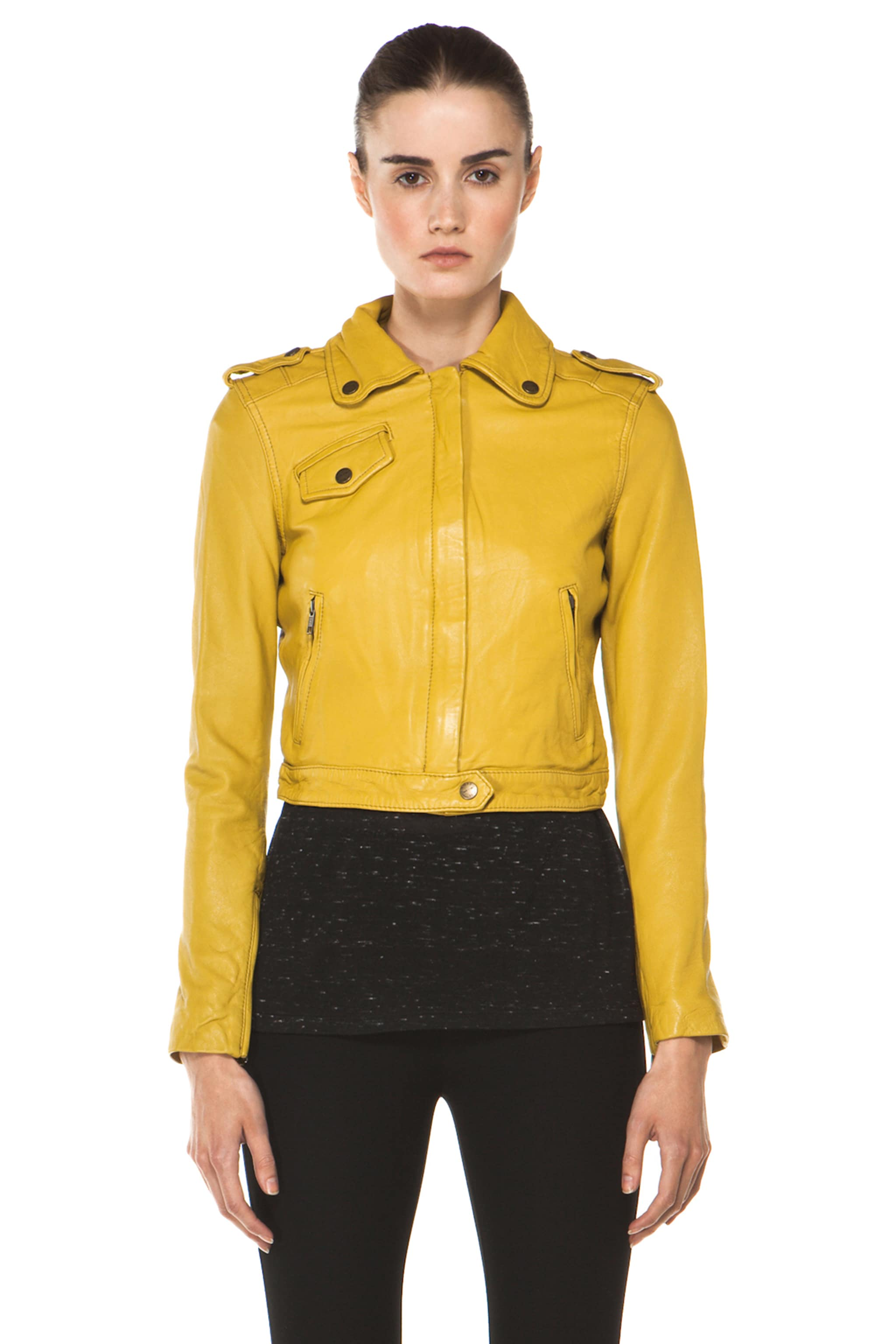 Image 2 of Current/Elliott The Zip Moto Leather Jacket in Light Olive