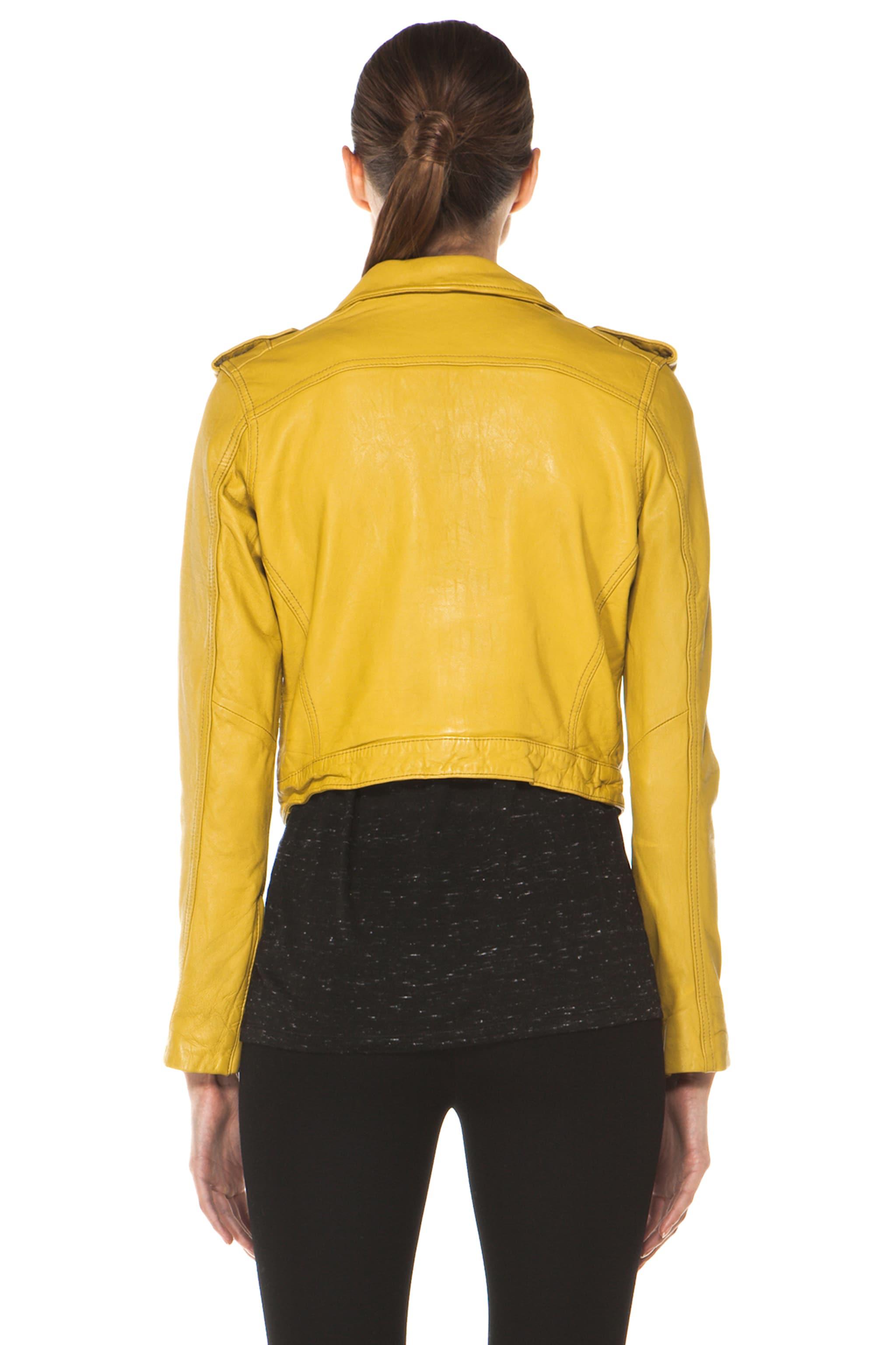Image 5 of Current/Elliott The Zip Moto Leather Jacket in Light Olive