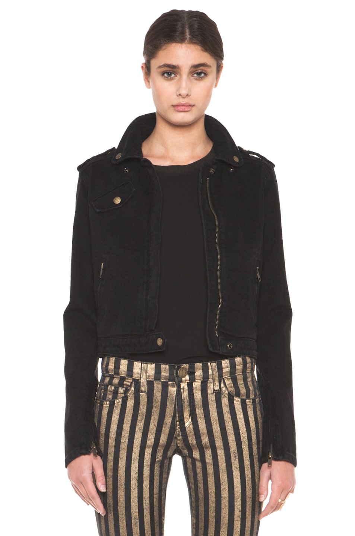 Image 1 of Current/Elliott The Zip Moto Jacket in Ebony