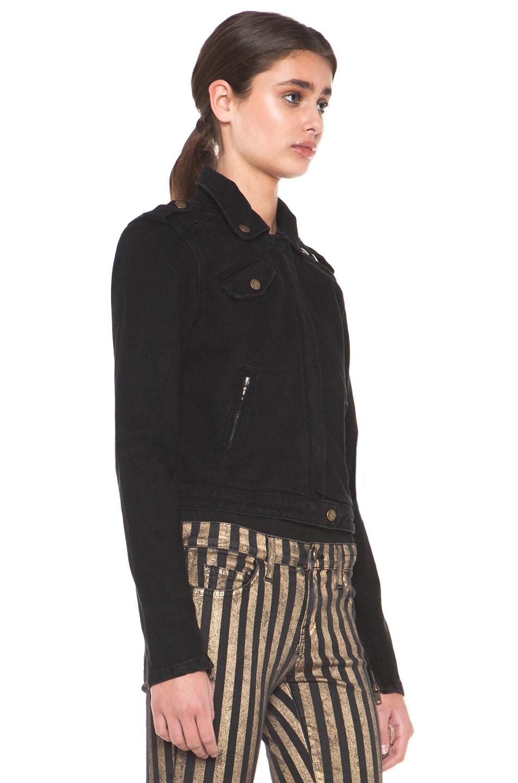Image 3 of Current/Elliott The Zip Moto Jacket in Ebony