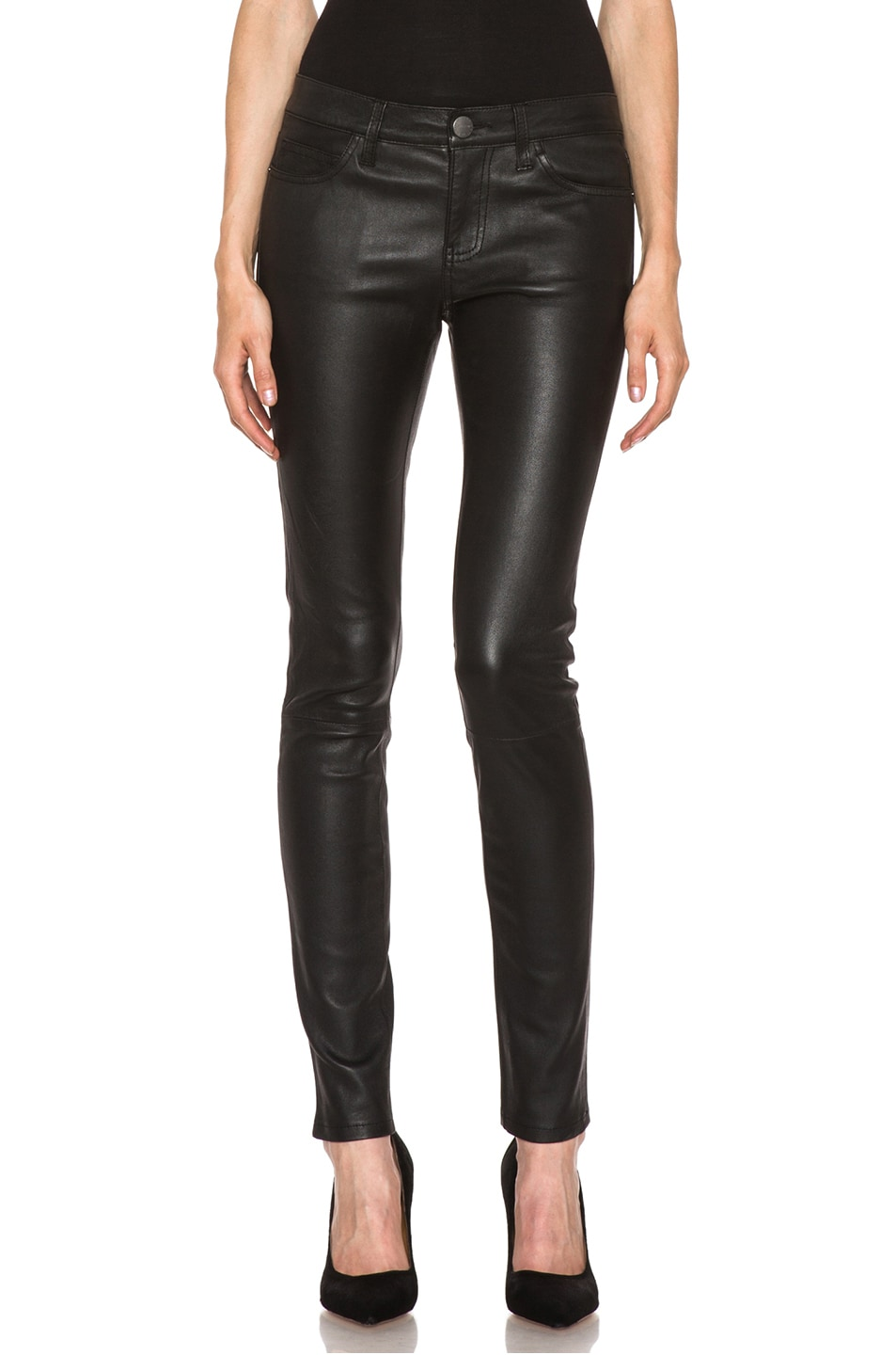 Image 1 of Current/Elliott The Ankle Skinny Leather Pant in Black