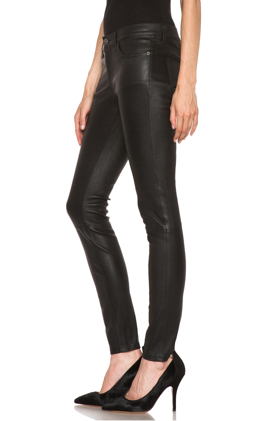 Image 2 of Current/Elliott The Ankle Skinny Leather Pant in Black