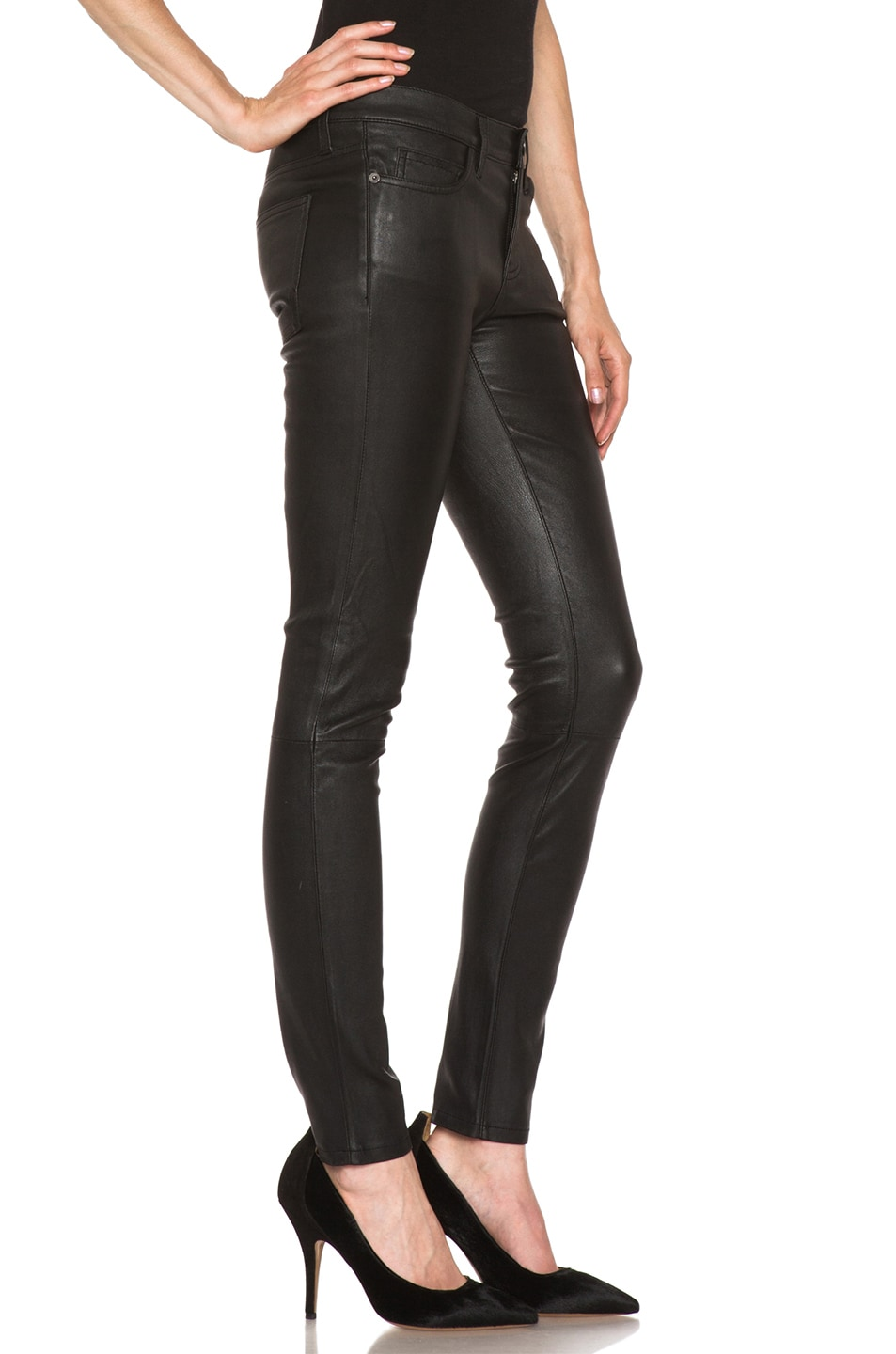 Image 3 of Current/Elliott The Ankle Skinny Leather Pant in Black
