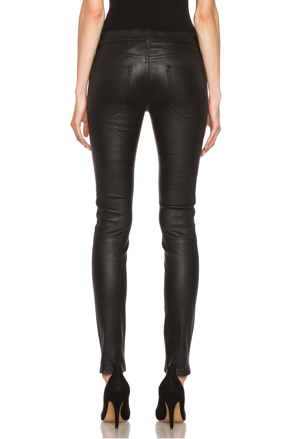 Image 4 of Current/Elliott The Ankle Skinny Leather Pant in Black