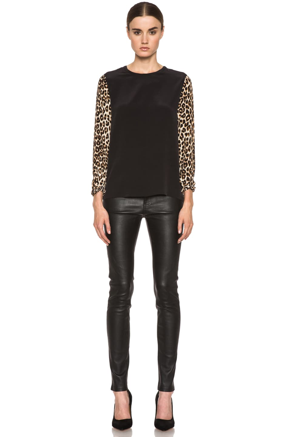 Image 5 of Current/Elliott The Ankle Skinny Leather Pant in Black