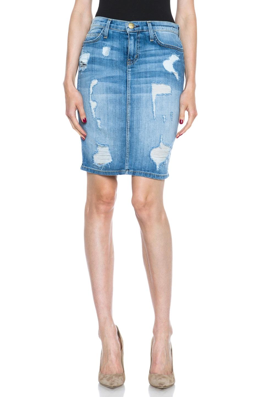 Image 1 of Current/Elliott The Stiletto Pencil Skirt in Shredded