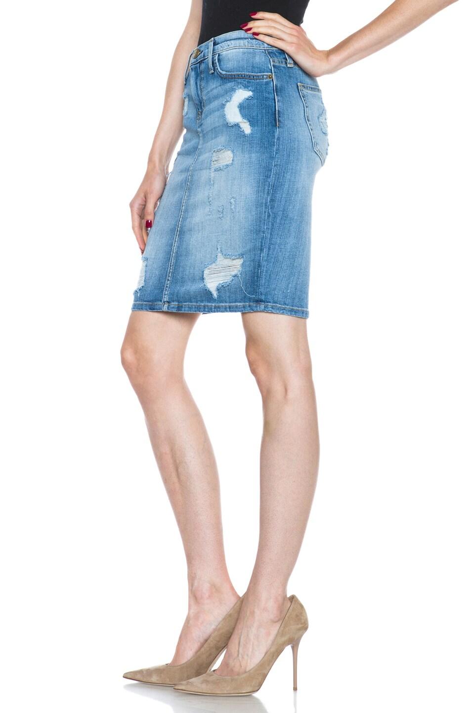 Image 2 of Current/Elliott The Stiletto Pencil Skirt in Shredded
