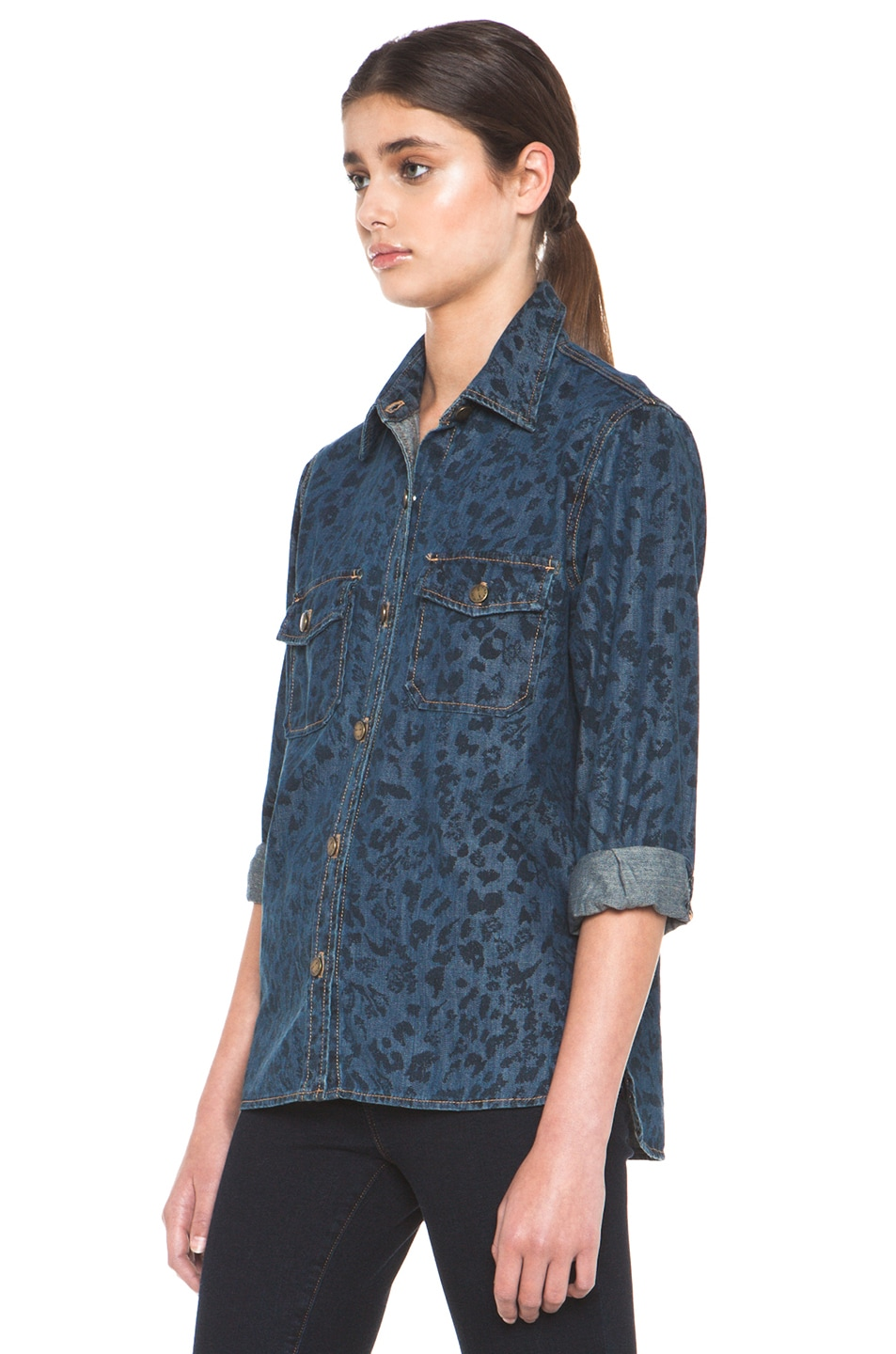 Image 2 of Current/Elliott The Perfect Shirt in Indigo Leopard